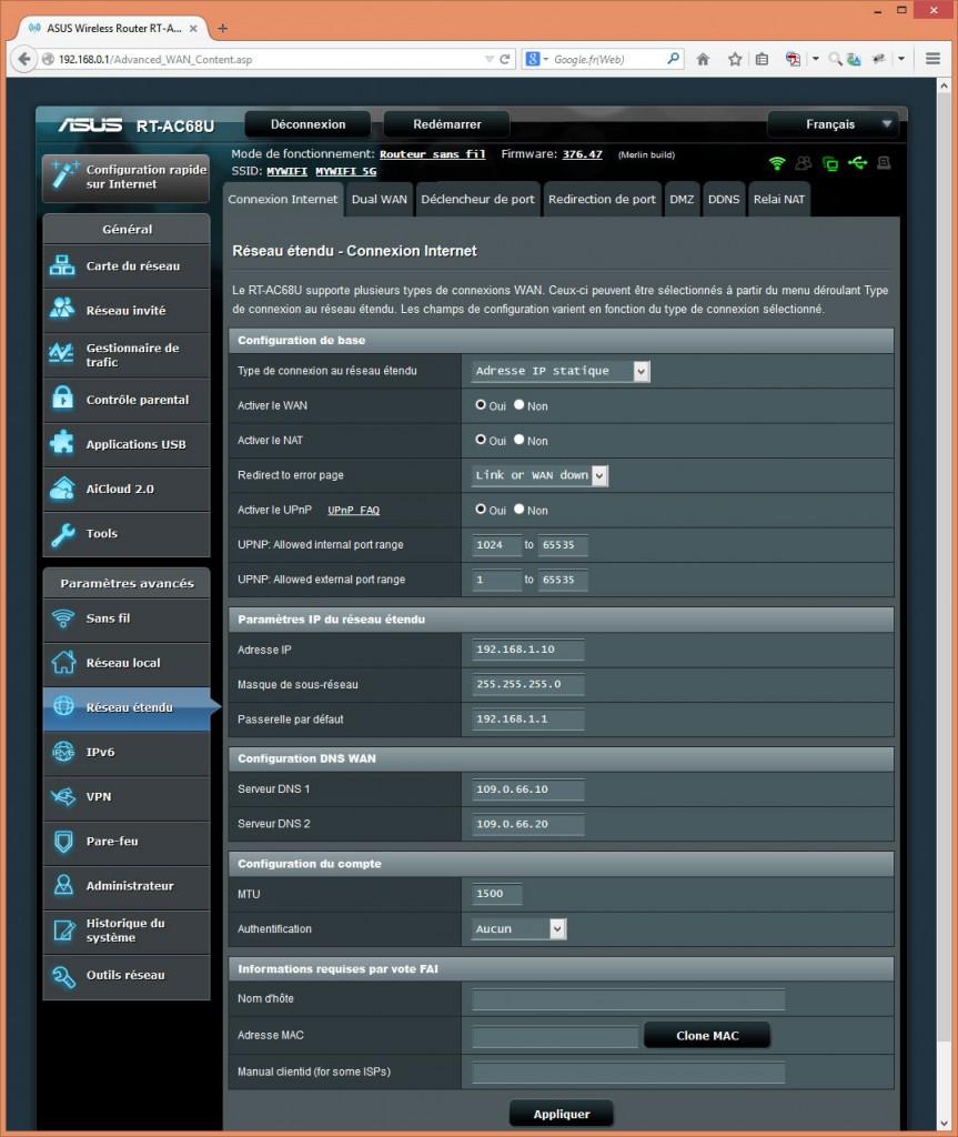 Écran de paramétrage du réseau étendu (connexion internet)