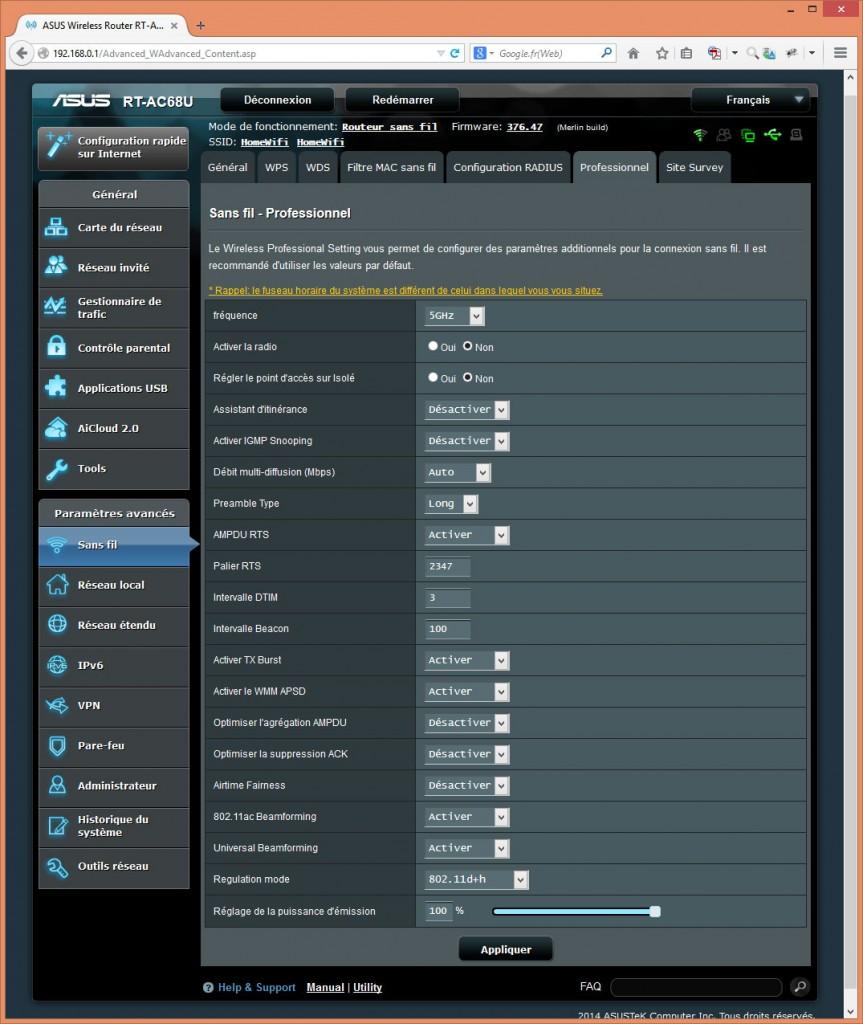 Désactiver une bande wifi sur le routeur Asus RT-AC68U firmware Merlin