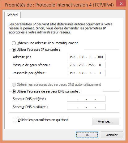 Paramétrage IP en adresse fixe