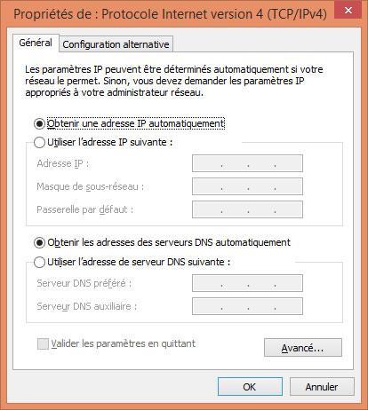 Fenêtre de configuration des paramètres IP